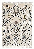 Urban creme 6396 181 001 - Hochflor Webteppich - Schöner Wohnen – moderner Berber Look - 4 Designs in Creme und Grau in 4 Größen. Hochflor, pflegeleicht, antistatisch, fußbodenheizungsgeeignet (200 x 290 cm)