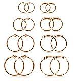 Finrezio 8 Paare 20G Edelstahl Ring Piercing Für Frauen Männer Ohr Piercing Set Roségold-Ton