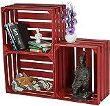 LAUBLUST 3er Set Sehr Große Vintage Holzkisten - 50x40x30cm, Rot Lackiert, Unbenutzt | Möbel-Kiste | Wein-Kiste | Obst-Kiste | Apfel-Kiste | Deko-Kiste aus Holz