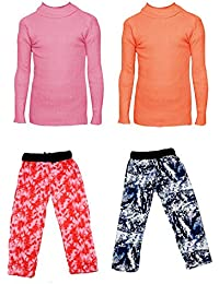 IndiStar Boys Combo Pack For Winter(Pack of 2 Printed Lower and 2 Wollen Full Sleeves T-Shirt/Inner/Skivvy )_Pink::Orange::Multicolor_6-7 Years_360202110110-0608-IW-P4-28