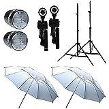 FotoQuantum StudioMax Kit 55/55Ws Flashs Synchro FQ-CY3000 + Trepieds d'eclairage 2.5m + Parapluies Blancs 110cm