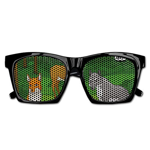 EELKKO Mesh Sunglasses Sports Polarized, Forest with Cartoon Animals with Names Educational Intellectual Fun Kids Game,Fun Props Party Favors Gift Unisex