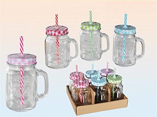 6 x bicchieri barattolo con manico, coperchio e cannuccia, 400 ml (Vaso Di Vetro Bicchiere)