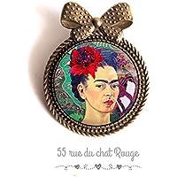 Spilla Cabochon 30 mm Cabochon Frida Khalo, ritratto donna, Messico, Colorato