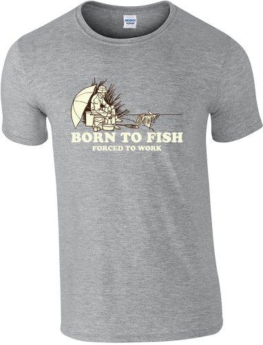 360pesca pesce pesca-Born To-Maglietta taglia S a 2x l Sport Grey Medium