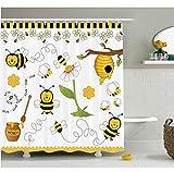 TYKCRt Tenda da Doccia Collage Decor Tenda da Doccia Volare Le api Daisy Miele Camomilla Fiori polline Primavera a Tema Animal Print Set da Bagno
