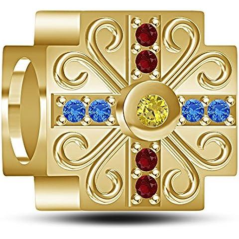 Lilu Jewels 14oro su argento 925rotondo CZ Multicolore Belle principessa braccialetto per (Disney Oro Principessa Bracciali)