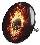 Badewannenstöpsel Totenkopf in Flammen, deckt den kompletten Abflussbereich ab, hochwertige Qualität ✶✶✶✶✶