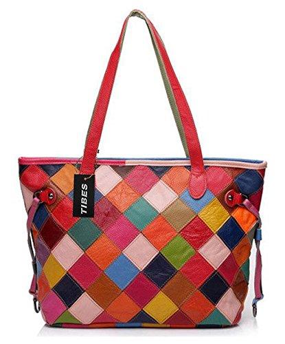 Tibes Plaid Handtasche Totebeutel Schulter handtasche Multicolor