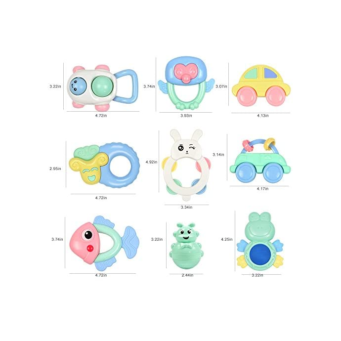 Tumama 9PCS Baby Rattles Newborn, 6-12 Months Baby Toys,Grasping Rattle Teether Sheep Owl Frog for Baby Girls Boys,Baby Teething Toys,Gift Set for Infants