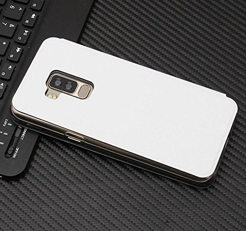Owbb Hülle für Bluboo S8 Handyhülle Hard Plastik PU Ledertasche Flip Cover Tasche Hülle Case mit Stand Function Retro Klapphülle Design Weiß