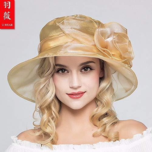 HAPPY-Cap Sonnenhut weibliche Sonnencreme Anti-Frühling und kühlen Hut Sommer, Gold