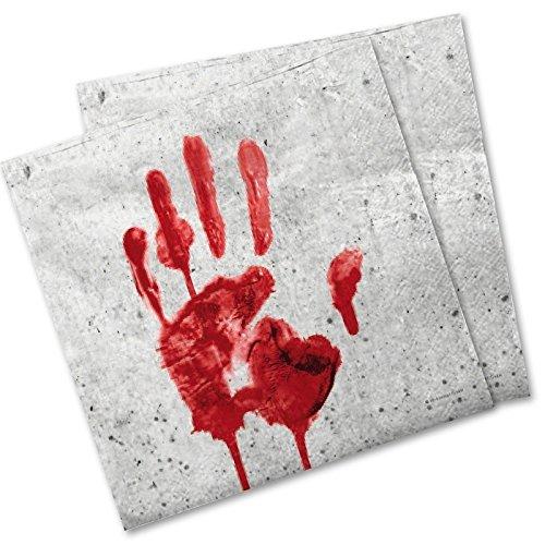 Generique - Paper Servietten blutiger Handabdruck 33x33 cm Halloween