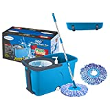 #10: Primeway Magic Mop on 2 Wheels with Pull Handle, Water Outlet, Liquid Dispenser, 2 Microfibre Refills, 7.5 Ltr, Blue