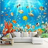 Guyuell 3D Kinder Tapete Wandbild Unterwasserwelt Fische Und Korallen Fotowand Papier Kinderzimmer Hintergrund Wand Benutzerdefinierte 3D Wandbilder-300Cmx210Cm