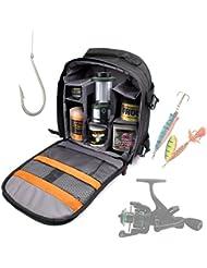 DURAGADGET Mochila Con Compartimentos Para Accesorios De Pesca + Funda Impermeable - Perfecta Para Guardar / Organizar - Alta Calidad