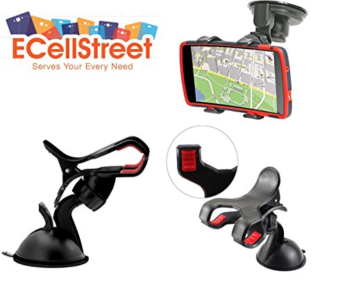 ECellStreet Mobile phone soft tube mount holder with suction cup - Multi-angle 360 Degree Rotating Clip Windshield Dashboard Smartphone Car Mount Holder For Spice M-6112  available at amazon for Rs.240