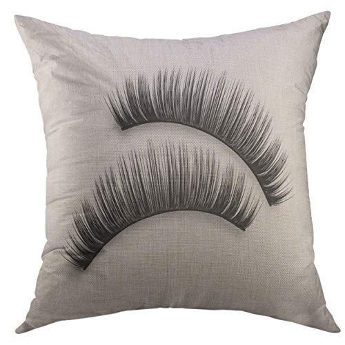 SKDJFBUD Decorative Throw Pillow Cover for Couch Sofa,Eyelash False Eyelashes Mascara Brush Black Grunge Swatch in Heart Shape Woman's Cosmetics Eyeliner Home Decor Pillow case 18x18 Inch -
