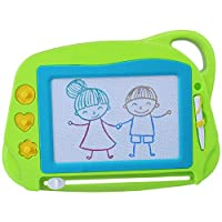 AiTuiTui Magnetic Drawing Doodle Board for Kids Travel Size, Colorful Writing Tablet-Mini Erasable Etch Sketching Pad Educational Toys for Toddlers with 3 Stamps and 1 Pen-Gifts for Children- Green