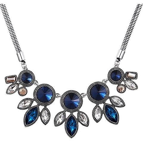 City Ouna® filamento azul Vintage grande colgante gargantilla declaración clavícula cadena joyería collar con cristal de Swarovski elementos