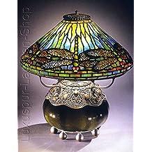Lámpara de mesa–Réplica en una lámpara de Tiffany de diseño 'Mullin Sugerente' con pie redondo y adornos