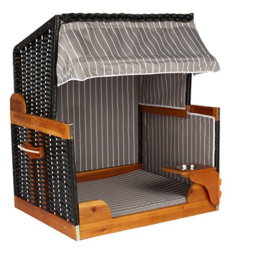 Hunde Katzen Strandkorb in grau weiß Nadelstreifen, Tier-Bett mit Wasser-Napf, Korb aus Poly-Rattan schwarz, Hundehütte für Haus und Garten