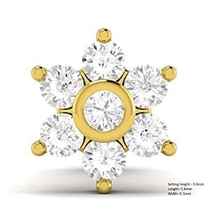 Vijisan 0.07 Ct.10KT Yellow Gold Diamond Nose Pin Ring for Women