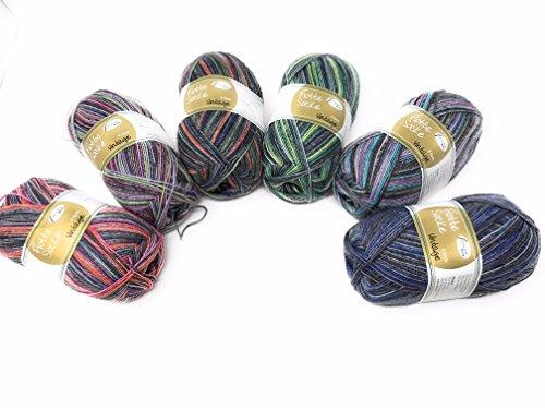 Rellana 6X 100g Sockenwolle Paket 4-Fädig Vintage, 600g Sockenwolle Sortiert