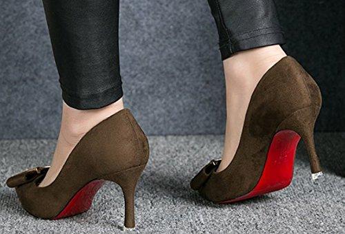 Lady talons hauts de printemps doux archet/Côté boucle chaussures pointues asakuchi A