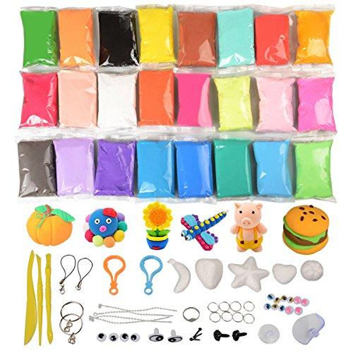 Fluffy Slime Kit,KidsHobby 24 Farbe DIY Putty Floam Slime Schleim Set Entspannung Stress Relief Spielzeug Für Kinder und Erwachsene (Putty Kit)