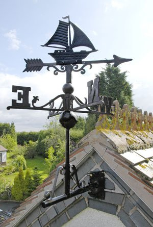 Black Cast Iron Sail Boat Weathervane - Includes Multi-Position Mounting Bracket - Various Sizes Available