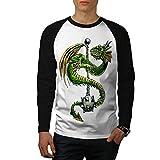 wellcoda Drachen Keule Cool Fantasie Männer S Baseball LS T-Shirt