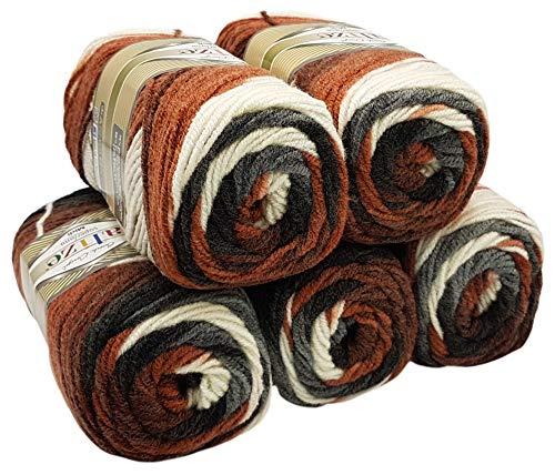 Alize superlana midi 5 x 100 Gramm Wolle mit Farbverlauf, 500 Gramm Strickwolle Batik 75% Acryl 25% Wolle (schwarz grau weiß braun 6991)
