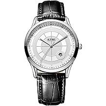 Alienwork Reloj cuarzo elegante relojes hombre moda Piel de vaca blanco negro YH.E1070L-02
