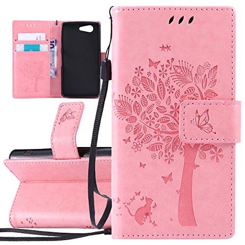 Custodia Xperia Z3 Mini - Cover per Sony Xperia Z3 Mini - ISAKEN Accessories Cover in PU Pelle Portafoglio Tinta Unita Custodia, Elegante Fiori Farfalle Pattern Design in Sintetica Ecopelle Libro Book Albero: rosa
