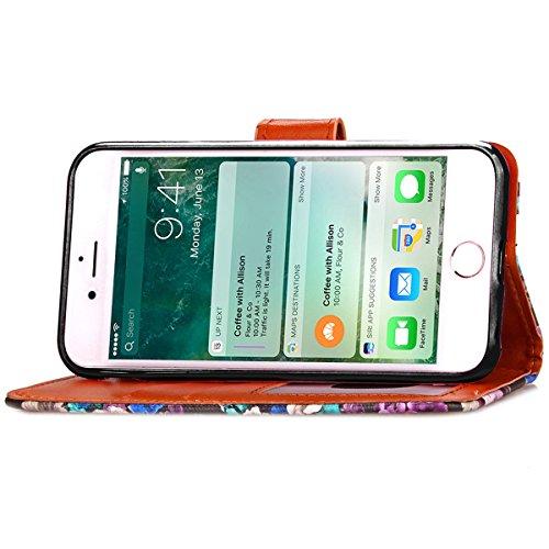 iPhone 7 Coque, Apple iPhone 7 Coque, Lifeturt [ Noir ] Motif Pure Couleur Housse en Cuir Case à Avec La Fonction Stand Coque de Intérieure Protection Souple Coque Portefeuille TPU Silicone Case Cover E2-Noir