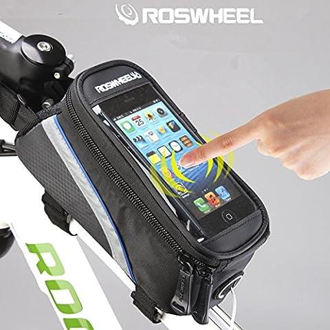 ROSWHEEL 4,8 '' 5.5'' tubo de marco de bicicleta pantalla táctil teléfono bolsa bolsa - azul