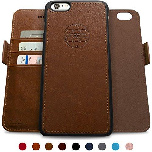 ftasche & Schutz-Hülle für iPhone 6-Plus, magnetisch herausnehmbares TPU Case, dünn bruchfest, 2 Standfunktionen, hochwertige synthetische Leder-Tasche, RFID Schutz - Schokolade ()