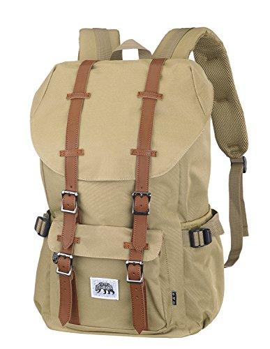 BEAR & GOODIES Ystad Rucksack, für Laptop bis 15 Zoll, als Daypack, als Schulrucksack, die Uni, im Retro Look, zum Reisen oder Wandern, für Studenten, Damen oder Herren (Beige)