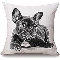 GATELEE fundas de almohada estilo Bulldog francés fundas de almohada de algodón lino fundas de cojín