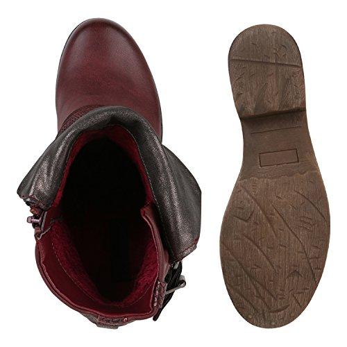 Damen Stiefeletten | Biker Boots Schnallen Nieten | Knöchelhohe Stiefel Leder-Optik Dunkelrot