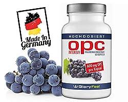 OPC Traubenkernextrakt Intensiv 600mg - 60 vegane Kapseln - 95% OPC Gehalt aus Original französischen Weintrauben + Vitamin C - Laborgeprüft ohne unerwünschte Zusätze hergestellt in Deutschland