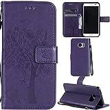 Ooboom® Samsung Galaxy S7 Edge Coque Motif Arbre Chat PU Cuir Flip Housse Étui Cover Case Wallet Portefeuille Support avec Porte-cartes pour Samsung Galaxy S7 Edge - Violet