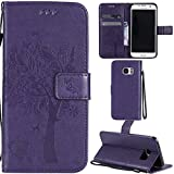 Ooboom® Samsung Galaxy S7 Edge Case Cat Tree Pattern PU Leather Flip Cover Wallet Stand with Card/Cash Slots Packet Wrist Strap Magnetic Clasp for Samsung Galaxy S7 Edge - Purple