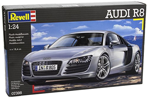 Preisvergleich Produktbild Revell Modellbausatz Auto 1:24 - Audi R8 im Maßstab 1:24, Level 4, originalgetreue Nachbildung mit vielen Details, 07398