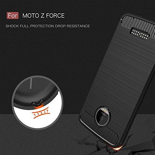 Haoweiwei Für Motorola Moto Z Force Weiche TPU Shockproof Ultra Light dünne Carbon Fiber Armor Brushed Silikon Grip Case Cover (Farbe : Marine)