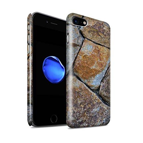 STUFF4 Glanz Snap-On Hülle / Case für Apple iPhone 8 / Steinboden/Orange Muster / Stein/Rock Kollektion Medium Steinmauer