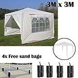 AutoBaBa Wasserdicht 3x 3m Garten Pavillon Zelt Stahl Tube Stark Festzelt, weiß, PE, mit 4Frei Pavillon Sand Gewichte