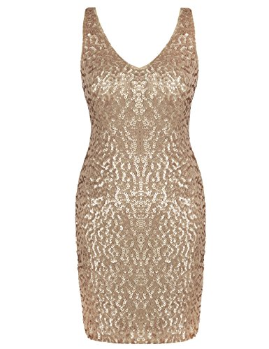 PrettyGuide Damen tiefer V-Ausschnitt Pailletten Glitzer Bodycon Mini Partei-Kleid L Mattes Gold