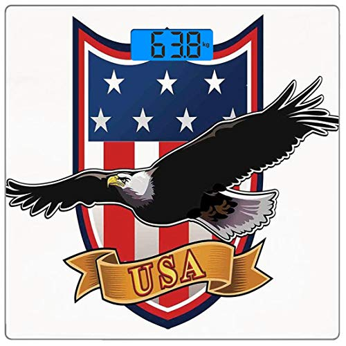 Präzisions-Digital-Personenwaage Amerikanische Ultra Slim-Personenwaage aus gehärtetem Glas Genaue Gewichtsmessungen, Flying Eagle mit USA-Flagge Rüstung Design Form Liberty Wings in Sky Ilustration, (Rüstung Unter Usa-flagge)